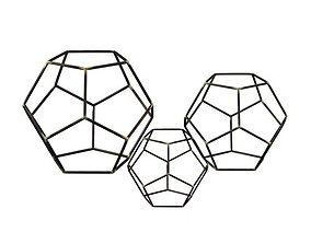 Iron Gold highlight Amin Geometric Orb Sculpture 3D model