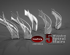 3D model game-ready Spiral Stairs 4