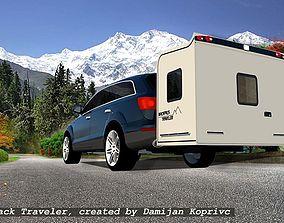 wheel Less trailer backpack traveller 3D model