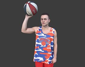 3D asset Basketball Player With a Ball