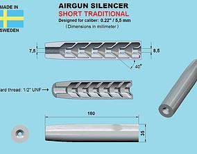 SHORTENED VERSION Air gun silencer 3D printable model 1