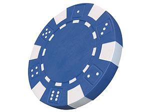 Casino chip 3D model blue poker chip