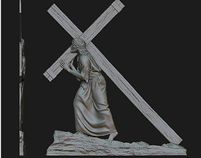 Jesus With The Cross Relief 3D print model