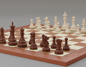 Chess pieces with rigged and posed figurines 3D model