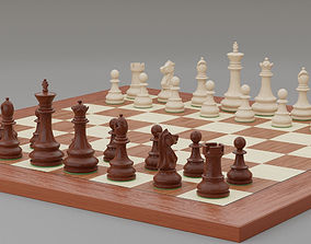 3D asset Chess pieces with rigged and posed figurines