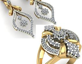 3D model diamond rings WOMAN SET RING AND EARRINGS