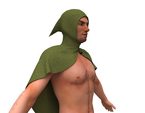 3D model character with clothing cape