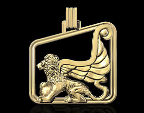 3D printable model Winged lion-Sphinx pendant