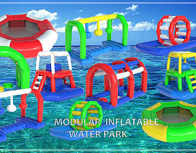 MODULAR INFLATABLE WATER PARK 3D model PBR