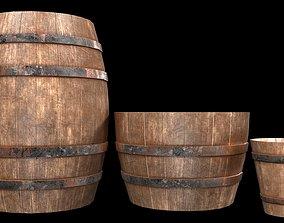 3D model realtime old Wooden Barrel
