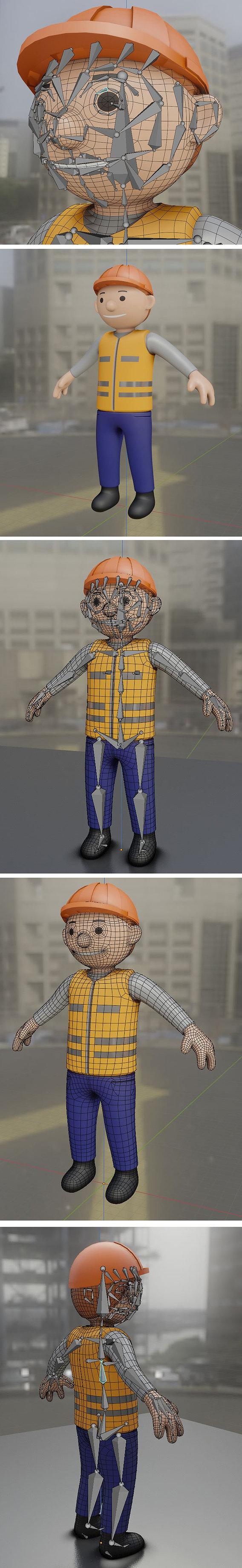 Cartoonish Construction Worker High-Poly Version - Blender-2.90.1