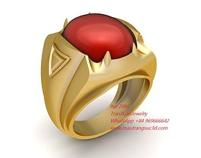 3D printable model 2086 Ruby Oval Men Ring