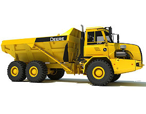 Yellow John Deere Articulated Dump Truck 3D