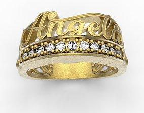Angela name ring 3D print model