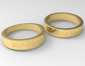Self-Control Couple Ring Gold 24k 3D printable model