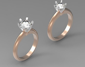 Solitaire engagement ring 0-5CT 0-75CT 1CT 3D print model