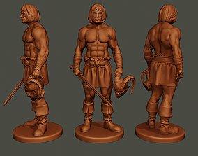 Male Barbarian 2HSword Cut Head 3D printable model