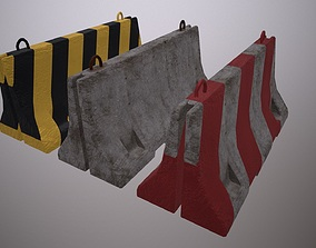 3D asset Old Concrete Barrier - PBR Game Ready
