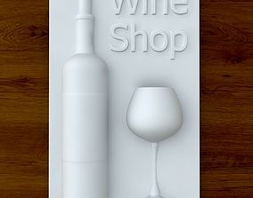 3d Printable Wine shop sign STL OBJ