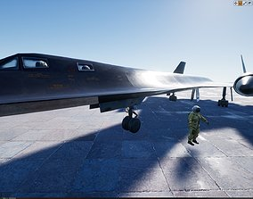 SR71 Blackbird With Cockpit and Pilot 3D asset animated