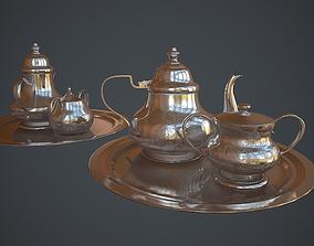 3D asset Victorian era silver teapot