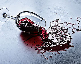 Fallen glass of wine 3D model