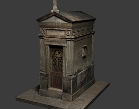 granite 3D model Old Weathered Mausoleum