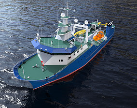 Complated Trawler Boat 3D