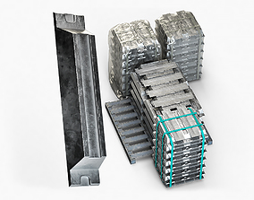 Aluminium Zinc Nickel Silver Titan Steel ingot 12 3D