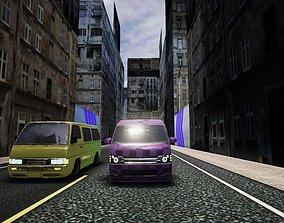 Low poly city racetrack environment 3D asset