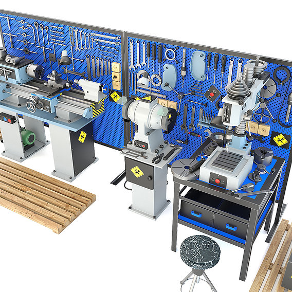 Industrial workbench garage tools and turning drilling machine