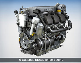 3D model engine-car Truck diesel engine