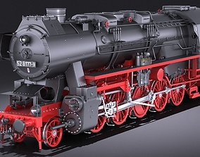 Locomotive BR-52 Steam Train 3D model