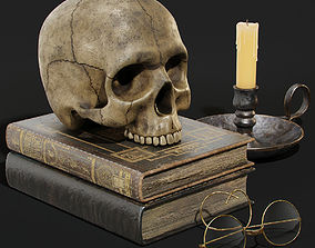 Skull and Books 3D model