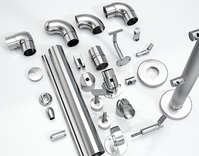 fittings Set steel handrail components 25pcs 3D model