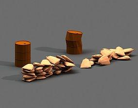 Post Apocalyptic Sandbags and Barrels 3D model