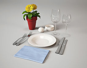3D model place setting tableware restaurant