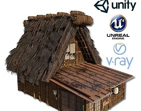 3D asset realtime Shirakawago Village Set House 2 and 3