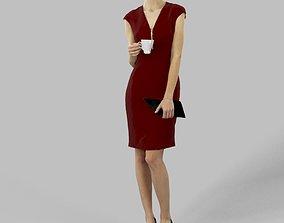 Elegant Woman Barbara Standing Holding A Tea 3D asset 3