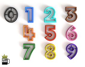 Molde cortante de galletas fondant de los numeros 2