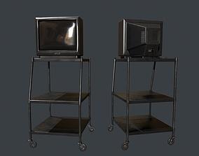 TV on Roll-out Cart 3D asset