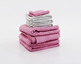 Bundle of small and big towels 3D