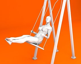 Swinging Woman Minimalist 3D model