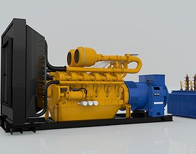 Diesel Engine and Generator and Transformer 3D