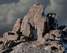 3D asset Blocky cliff