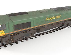 Diesel locomotive low poly 3D model