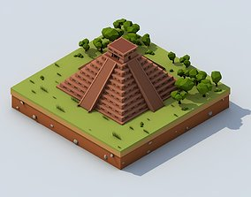 3D model Cartoon Low Poly Chichen Itza