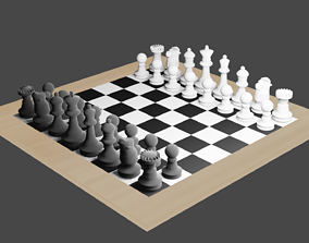 Chess Board and Chess Pieces 3D model realtime