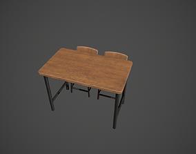 3D model Wooden and Dark Metal Breakfast Bar