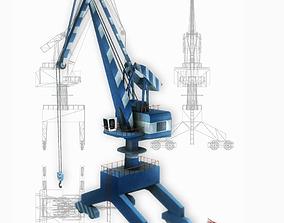 3D asset Port gantry crane 2 low poly